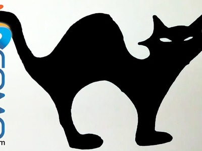 Silueta de un gato negro para Halloween - Silhouette of a black cat for Halloween