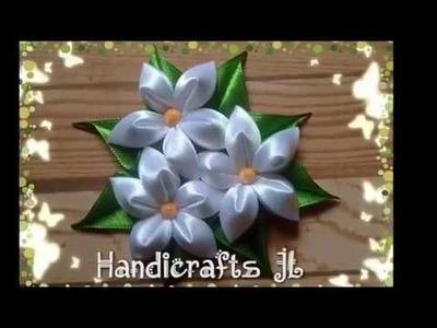Tocado con flores de listón tipo kanzashi