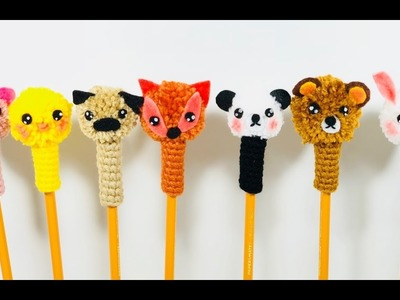 Accesorios a crochet para lápices.kawaii crochet pencil topper.