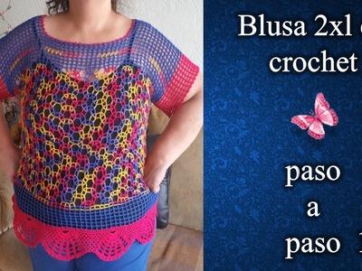 BLUSA 2XL en crochet PASO A PASO 1 de 3
