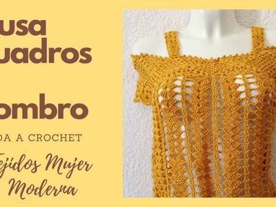 BLUSA CUADROS AL HOMBRO  Tejida a Crochet