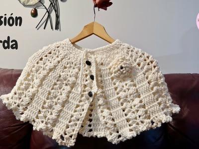 Capa beige a crochet paso a paso (Versión zurda)