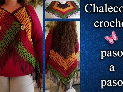 CHALECO ASIMETRICO 2XL en crochet PASO A PASO 2 de 2