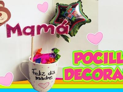 COMO DECORAR un POCILLO para MAMÁ - DIY MANUALIDADES
