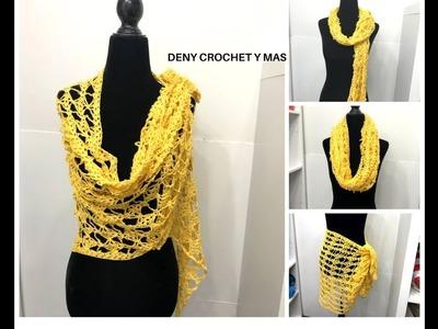 Como Hacer Chal De Moño en Crochet paso a paso