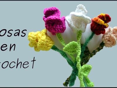 Como hacer una #flor o ROSA en tejido crochet o ganchillo (tutorial paso a paso). Moda a Crochet