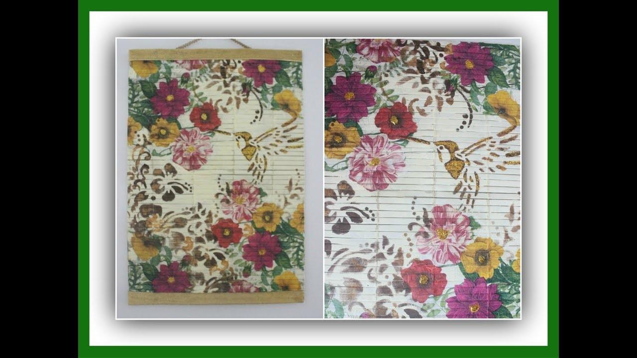 Cuadro o tapiz decorativo - Decoupage sobre individual de esterilla - Técnicas decorativas