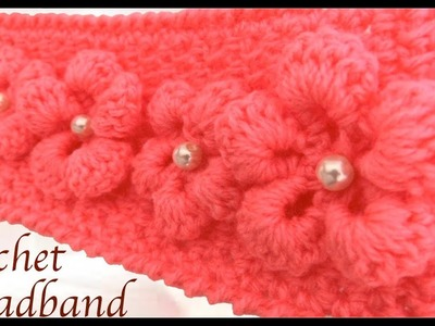Diadema tejida con Gancho Crochet  paso a paso con flores 3D tejido tallermanualperu