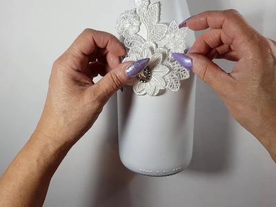 DIY botella de champan decorada para novios