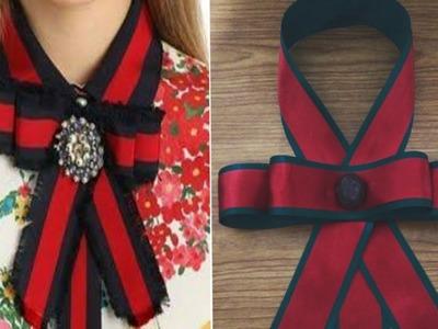 DIY,  collar con moño tipo Gucci !  Para combinar con tus blusas.????????????????