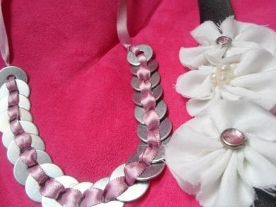 DIY! Collar de rondanas Y Flores de tela ♥