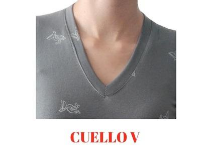 DIY Cómo confeccionar cuello V para blusas y camisetas