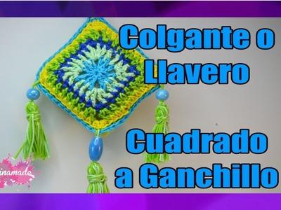 DIY. Llavero o Colgante de Ganchillo Cuadrado. Granny Square to Crochet Key Chains