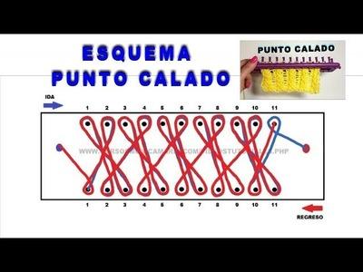 ESQUEMA PUNTO CALADO TELAR RECTANGULAR. DIAGRAM POINT LACE LOOM KNITTING TUTORIAL