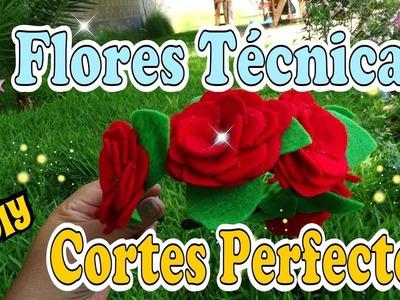 Flores con la Tecnica de cortes perfectos DIY Tutorial - Mis Flores de Tela