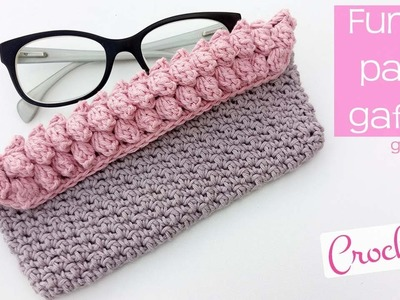Funda de ganchillo para gafas o anteojos popcorn. Crochet case for glasses