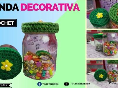 Funda decorativa para frascos a crochet | tejidos a crochet para adornar tu cocina