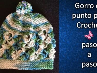 GORRO CON PUNTO PUFF en crochet PASO A PASO