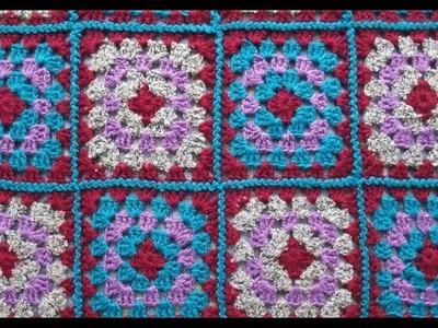 Mantas cuadriculadas tejidas a crochet