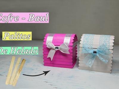 Manualidades con palitos de helado cofre o baúl