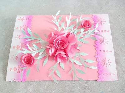 Manualidades Tutorial - Como hacer una tarjeta de felicitación con un bouquet de flores