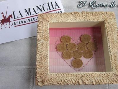 Marco de fotos decorado con corazón de corcho-Diy manualidades - D O  La mancha