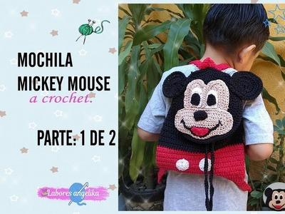 MOCHILA DE MICKEY MOUSE A CROCHET. PARTE: 1 DE 2 | Labores Angélika |