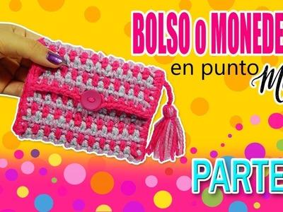 Monedero, Bolso tejido a crochet  en punto Musgo DIY | parte 2.2