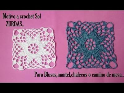 Motivo a crochet Sol para ZURDAS