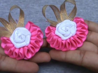 Nº.: 10 DIY kanzashi flor en cinta raso y rosa Rococo con pinzas