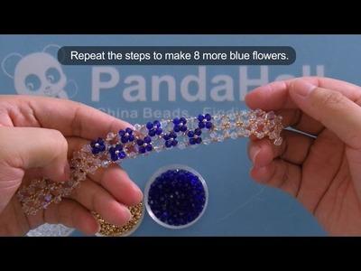 PandaHall Tutorial en video sobre cómo hacer una pulsera de cristal bicono
