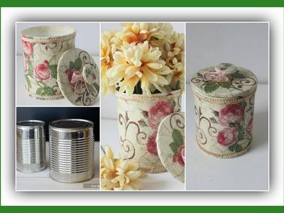 Reciclado - Lata decorada con decoupage estilo vintage - Técnicas decorativas - Manualidades - DIY