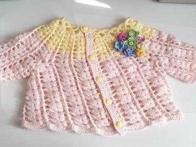 Sueter a crochet - Saco a crochet - ganchillo - chaqueta -  tejida con abanicos y punto puff - #1