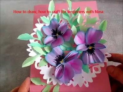 Tarjeta con flores de pensamientos para el Día de las madres. Manualidades de papel, fáciles