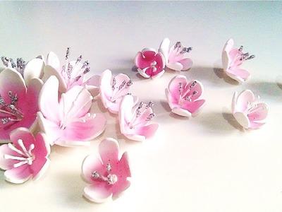 ✿ TUTORIAL FLOR DE ALMENDRO ✿,como hacer flores para scrapbooking y manualidades.