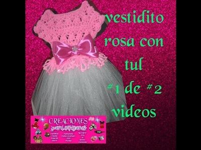 Vestido rosa tejido a crochet con tul pedrería y perlas 1# parte de 2