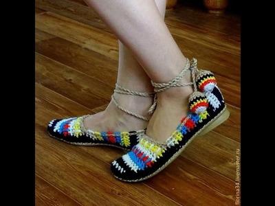 Zapato para Mujer. Tejido en Crochet