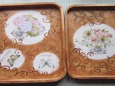 Bandejas de papel maché decoradas con decoupage y efecto bronce