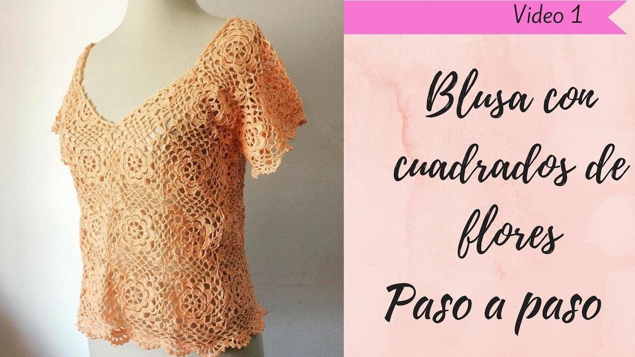 Blusa crochet a cuadros manga corta paso a paso (1) - Tejidocirculos