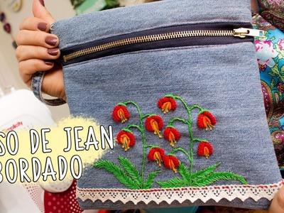 Bolso bordado a mano reutilizando un jean. cast on stitch.handbag brazilian embroidery
