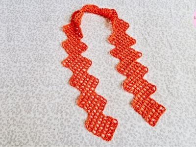 Bufanda con rectángulos a crochet paso a paso (Versión diestra)