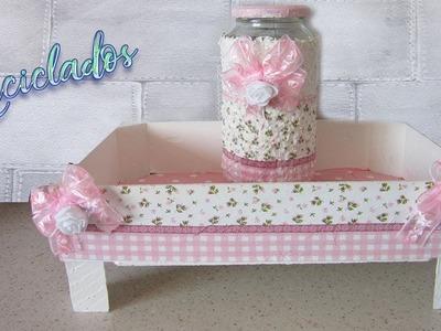 Caja de fresas y bote de cristal reciclado con cascara de huevo y decoupage ????