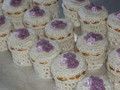 Cajitas en crochet endurecido para bodas,cumpleaños,15 años.