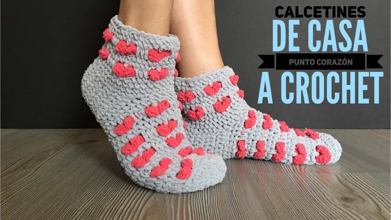 Calcetines de casa punto corazón a crochet
