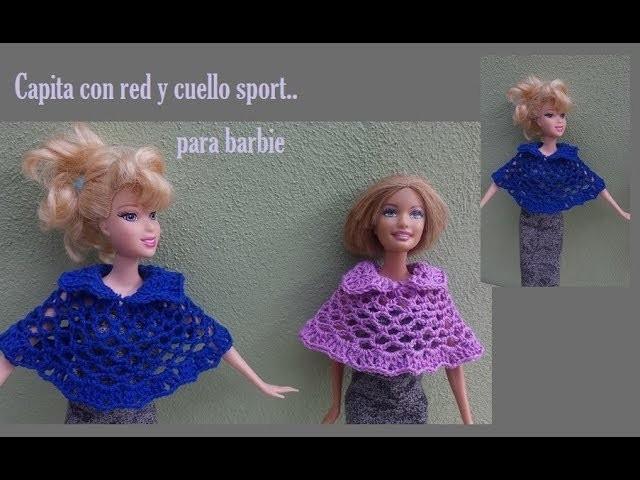 Capita con red y cuello sport a crochet