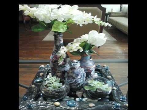 Centro de mesa con botellas imitacion piedra. ( FyR )Los Hobbies de Yola