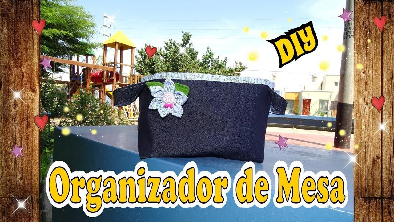 Cesto Organizador de tela decorado con Flores de tela DIY Costura