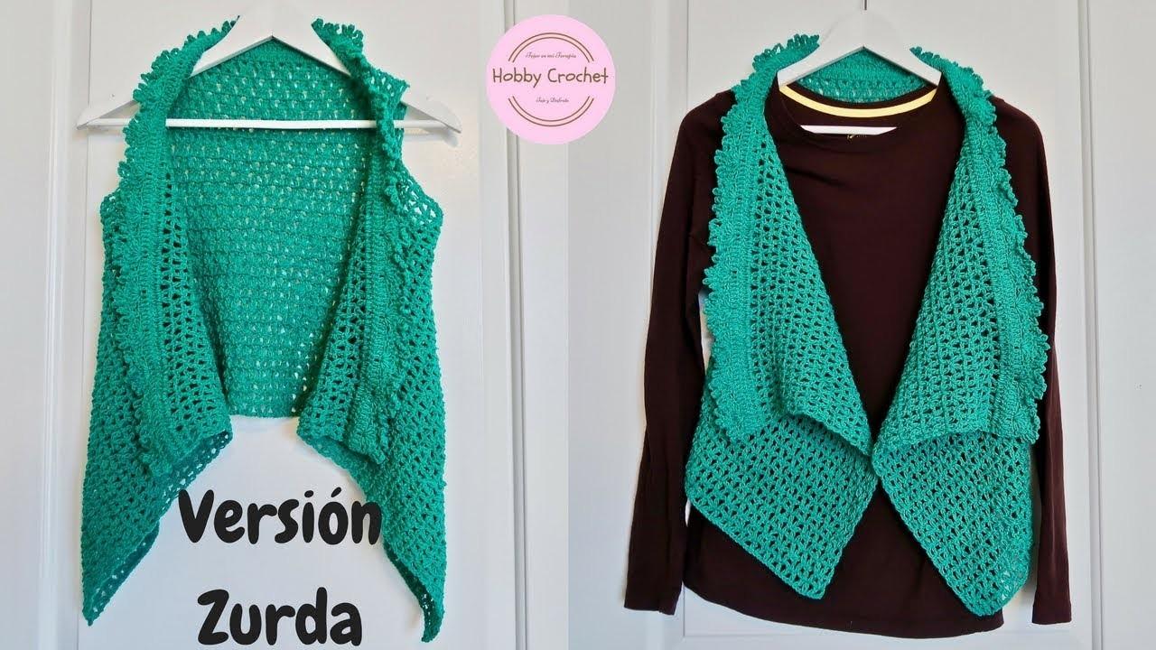 Chaleco verde a crochet paso a paso (Versión zurda)