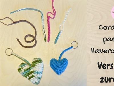 Cordon para llavero a crochet para paso a paso principiantes (Versión zurda)