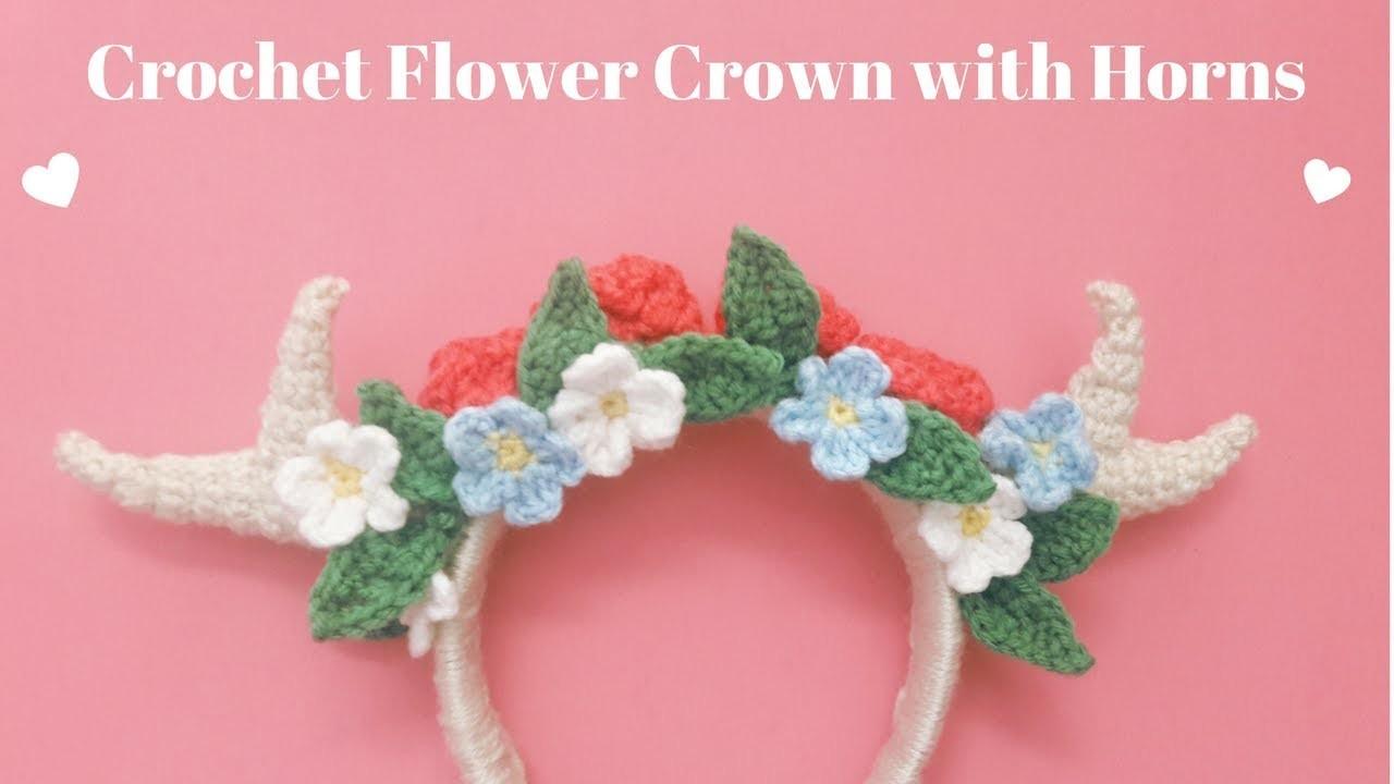 Crochet Flower Crown Headband w. Horns   Cómo Tejer Diadema.Corona de Flores con Cuernos a crochet